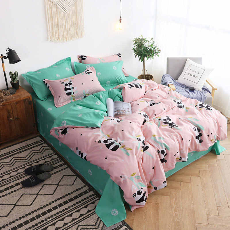 Panda 4pcs Girl Boy Kid Bed Cover Set Cartoon Duvet Cover Adult Child Bed Sheets And Pillowcases Comforter Bedding Set 2TJ-61005