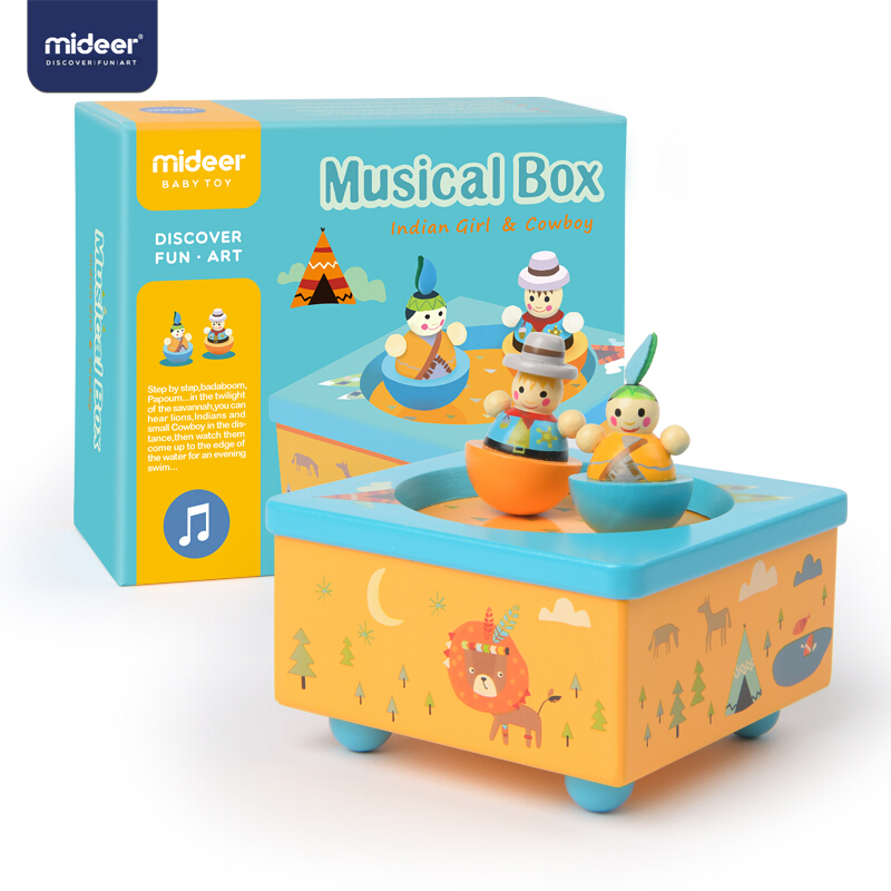 MiDeer Wooden 8-Tone Indian Music Box Children Dance And Rotate Creative Gift Music Box Winding Kids Musical Toy Birthday Gift