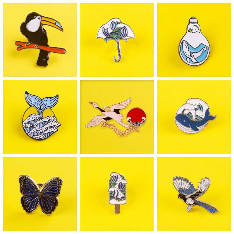 Burung Bros Laut Gelombang Laut Lencana Di Ransel Lencana untuk Pakaian Ikan Enamel Pin untuk Ransel Pakaian Kerah Pin Lencana dekorasi