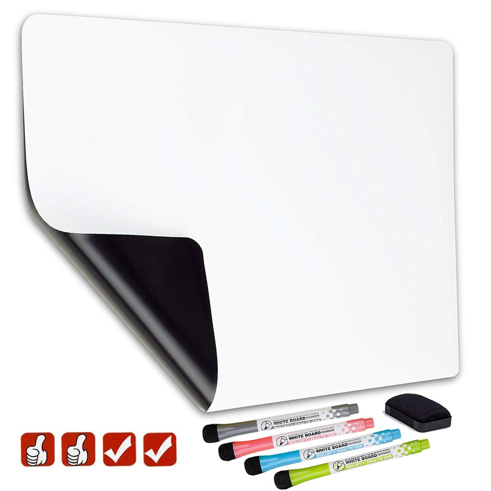 Magnetic Whiteboard Soft Home Office Kitchen Magnet Dry Erase Board White Boards Flexible Pad Magnet Board Fridge With 4 Marker