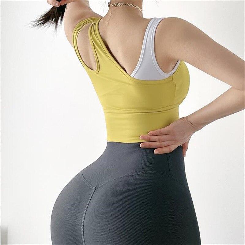 Women Yoga Tape Sports Bra Running Crop Top Fitness Brassiere Workout Tank Gym Bra High Impact Padded Underwear Running Vest Sport9s