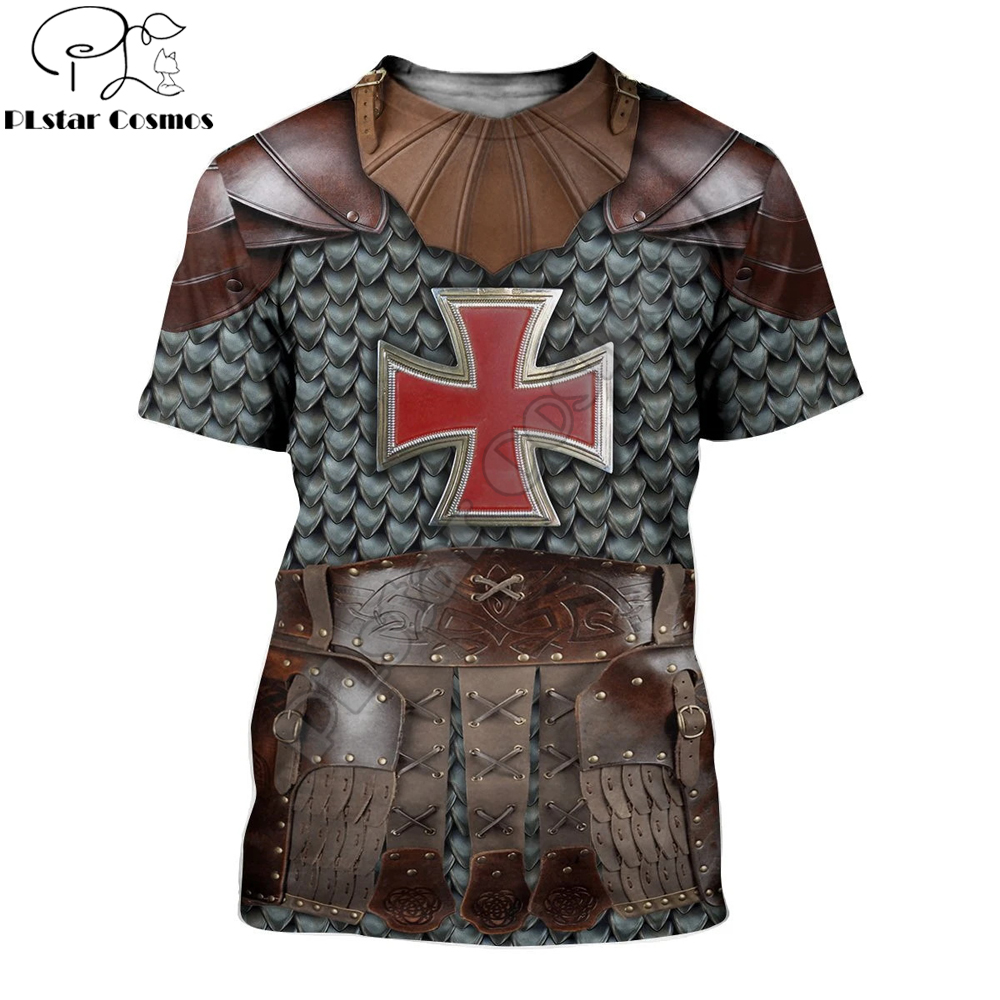 Knight Medieval Armor 3D printed t shirt Harajuku summer Short sleeve shirt Knights Templar street Casual Unisex T-shirt DW0044