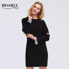 MIEGOFCE 2019 Turtleneck Sweaters women winter solid polyester fiber long pullover thick tonic Top loose sweater jumper female(China)