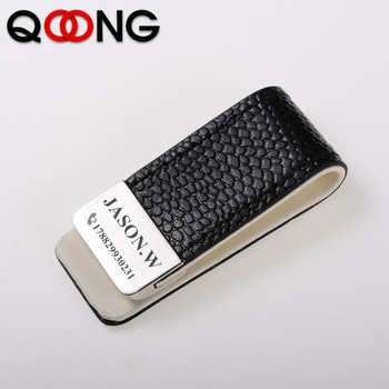 QOONG Men Women Leather Money Clip Wallet Slim Metal Money Holder Safe Wallet Bill Clip Clamp for Money Credit Cards ML1-046 qoong stainless steel double sided metal money clip fashion simple silver black dollar cash clamp holder wallet for men women