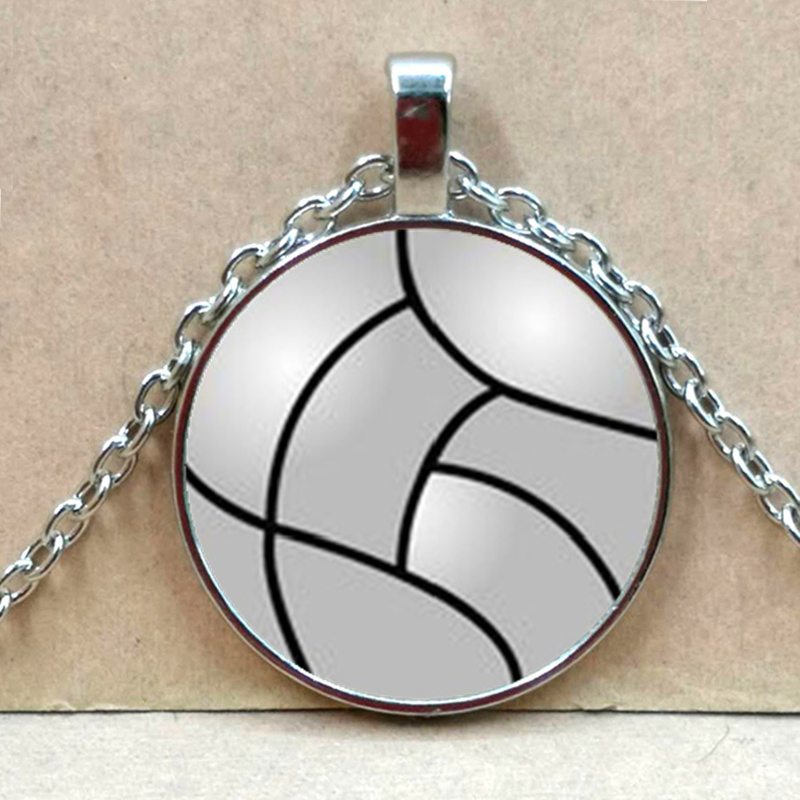 Nuevo voleibol fútbol baloncesto tenis collar cristal bala hebilla colgante collar mujer hombres regalo