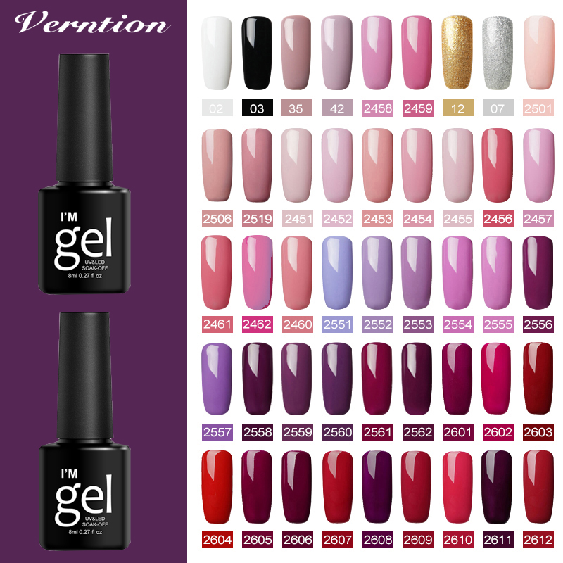 Verntion Color Gel Nail Polish Semi-permanent UV Nail Polish Semi-Permanent Varnish Long Lasting Gel Nail Polish 8ml Nails Art