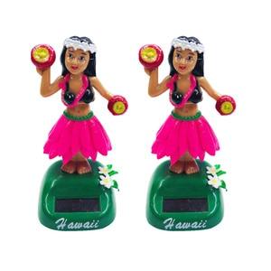 1PC Solar Powered Hawaiian Girl Doll Car Ornaments Hula Girl Shaking Car Decoration (Style B, Red)