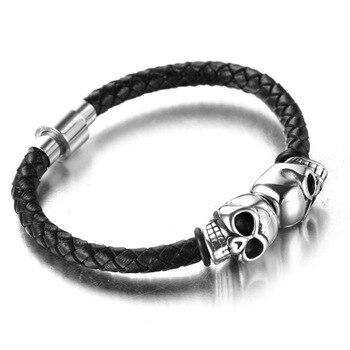 Bracelet viking en cuir véritable corde fermoir magnétique  2