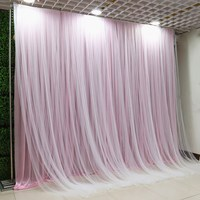 Double Layer Wedding Party Stage Celebration Background Satin Curtain Drape Pillar Ceiling Backdrop Marriage Decoration Veil