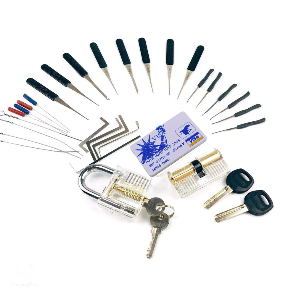 LockPick Set Practice Tools Combination,2pcs Transparent Locks With 22pcs Broken Key Remove Tool,Mini Card Tools,Tension Tools