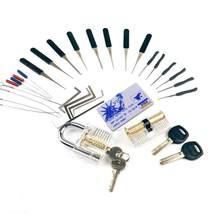 Combinação de ferramentas de prática conjunto lockpick, 2 pces fechaduras transparentes com 22 pces chave quebrada remover ferramenta, mini ferramentas de cartão, ferramentas de tensão