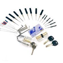 LockPick seti uygulama araçları kombinasyonu, 2 adet şeffaf kilitleri 22 adet kırık anahtar kaldır aracı, mini kart araçları, gerginlik araçları