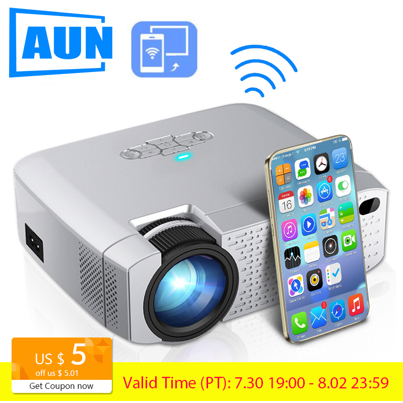 AUN LED Mini Projector D40W Video Beamer for Home Cinema 1600 Lumens Support HD Wireless Sync