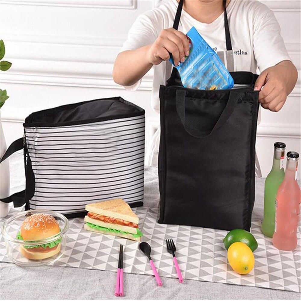 Лучшая, черно-белые полосы, переносные Термосумки для обеда, для женщин и мужчин, кулер для еды, для пикника, изолированная сумка, контейнер для хранения