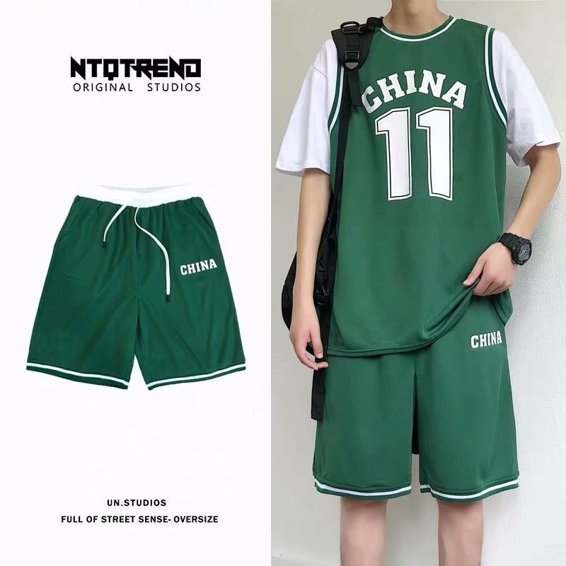Sports Set Men's Summer Couples Running Basketball Quick-Dry Shorts T-shirt Students Loose Casual Two-Piece Set Fashion