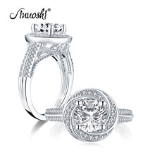 AINUOSHI Fashion 925 Sterling Silver 2ct Round Cut Halo Engagement Ring Simulated Diamond Wedding 8.0mm Bridal Ring Jewelry Gift(China)