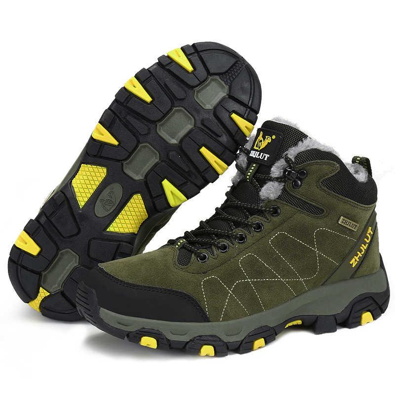 Erkekler kadınlar açık çizmeler kış yarım çizmeler sıcak popüler ayakkabı erkek süet rahat kar ayakkabıları deri yürüyüş ayakkabısı avcılık çizme