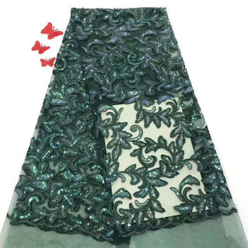 2019 Latest Green Sequins lace fabric French Nigerian Lace Fabrics High Quality beads African Lace Fabric Wedding