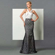 Tanpell Charming Evening Dress Halter Neck Sleeveless Ruched Pleats Floor Length Lace Mermaid Long
