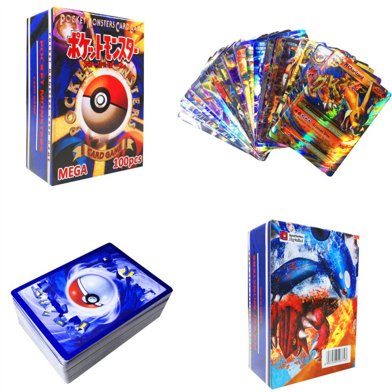 200pcs GX EX MEGA Shining Pokemones Cards Game Battle Carte No Repeat Pikachu Card Game For Children's Chrismas Birthday Gift