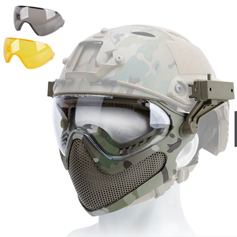 Steel Mesh Goggles Paintball Game Safety Mask Facial Nose Mouth Protection Airsoft Full Face Mask With Goggles Accessories