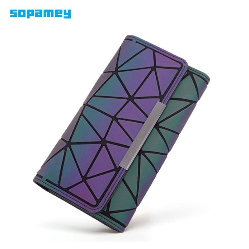 2019 New Zipper Wallet Womens Long Wallets Clutch Geometric Standard Wallet Purses Women Hologram Hand Bag Card Holder Carteira