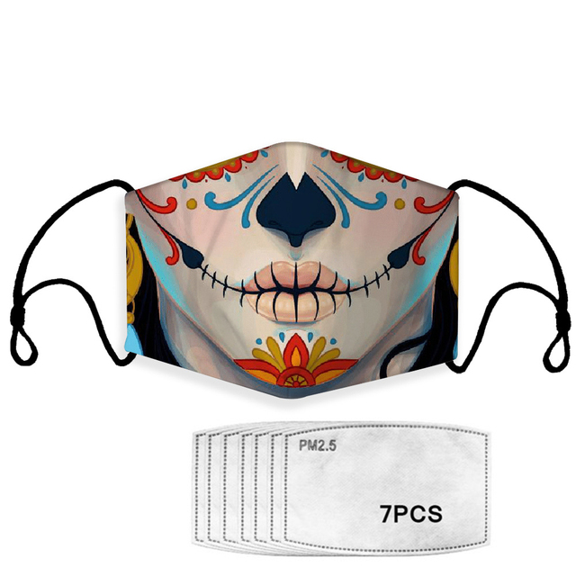 Fashion Reusable Protective PM2.5 Filter Printing mouth Mask anti dust Face mask with 7 Filters Windproof proof Flu Mask