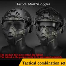 Maska taktyczna z goglami wojskowe polowanie strzelanie ochronne Paintball akcesoria maski odporne na kurz Airsoft gogle odporne na wiatr tanie tanio Tactical Glasses And Mask Other Tactical Mask And Goggles about 280g Boxed 20*12cm 18 5*8 5cm Men women TPE+ABS+PC lens