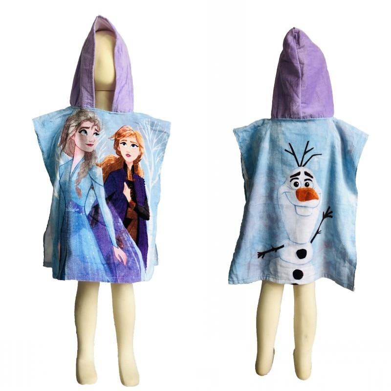 Serviette de bain en coton à capuche   Dessin animé Disney Anna Elsa, princesse reine des neiges 2 bébé, serviette Poncho cape, cadeau pour enfants, 55x 115cm