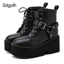 Ladies Shoes Platform Ankle-Boots Chunky-Heels Punk Gothic-Style Women Gdgydh Black Round-Toe