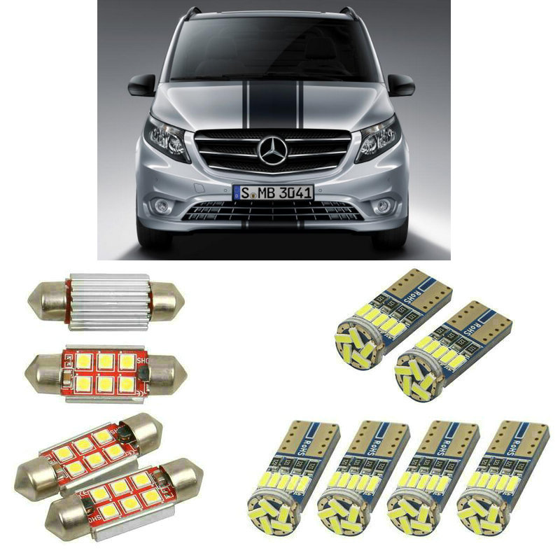 Interior led Car lights For <font><b>mercedes</b></font> <font><b>vito</b></font> <font><b>w638</b></font> w639 w447 bulbs for cars License Plate Light 11pc image