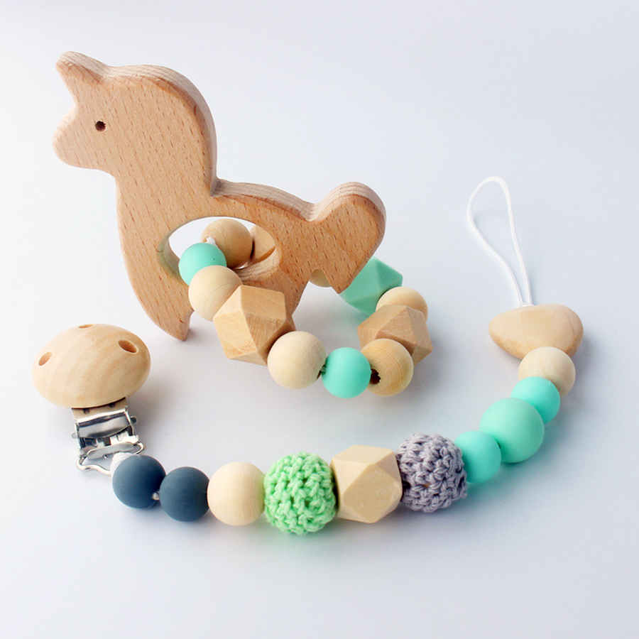 2pcs/set Baby Pacifier Clips + Baby Teethers Wood Silicone Speenkoord Infant Dummy Holder Pacifier Leash Cadena Chupete BPA Free