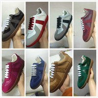 Brand Designer red Leather Men Shoes Men Lace Up Low Top Men Flat Casual Shoes Trainers Running Casual Shoes