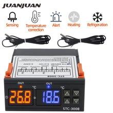 STC-3008 cyfrowy regulator temperatury AC 110V 220V DC 12V 24V podwójny higrometr ogrzewanie chłodzenie dwa wyjście przekaźnikowe AC przekaźnik 40% off