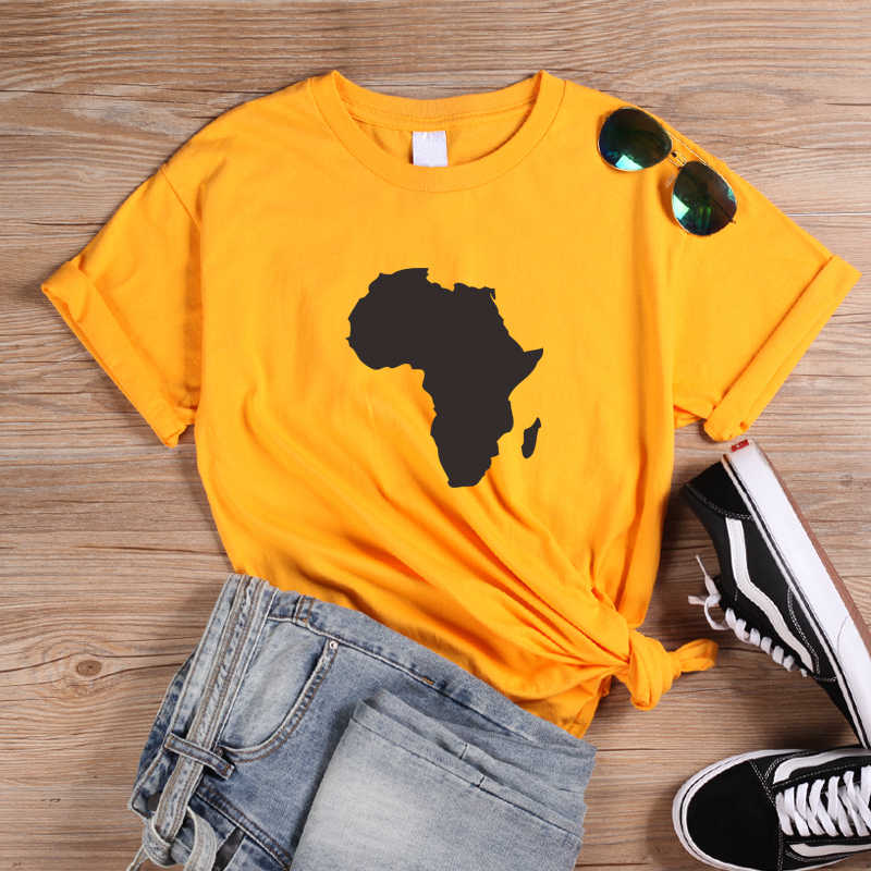 ONSEME Africa Mappa Graphic T Shirt Melanina T Camicette Donne Streetwear Harajuku Tee Magliette e camicette Femminista Magliette Nero Cultura tshirt