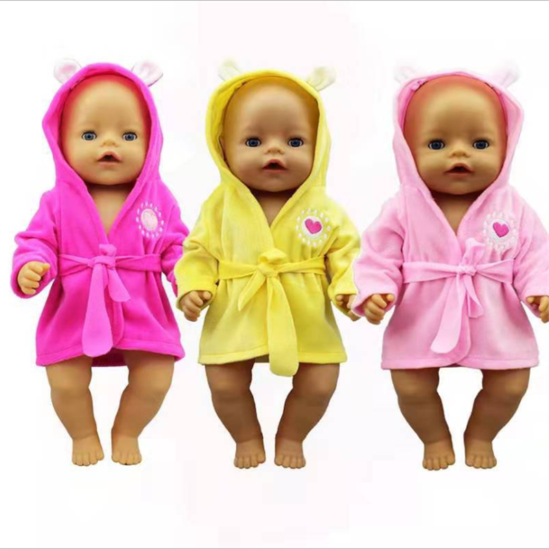 Fit 18 Inch 43cm Baby New Born Doll Clothes Accessories Yellow Pink Red Nightgown Suit For Baby Birthday Gift