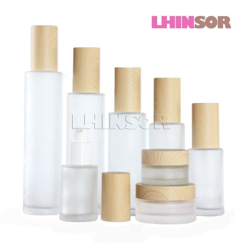 5 teile/los Holzmaserung Abdeckung Milchglas Spray Presse Pumpe Flasche Lotion Flaschen Creme Gläser Leere Kosmetische Verpackung Container