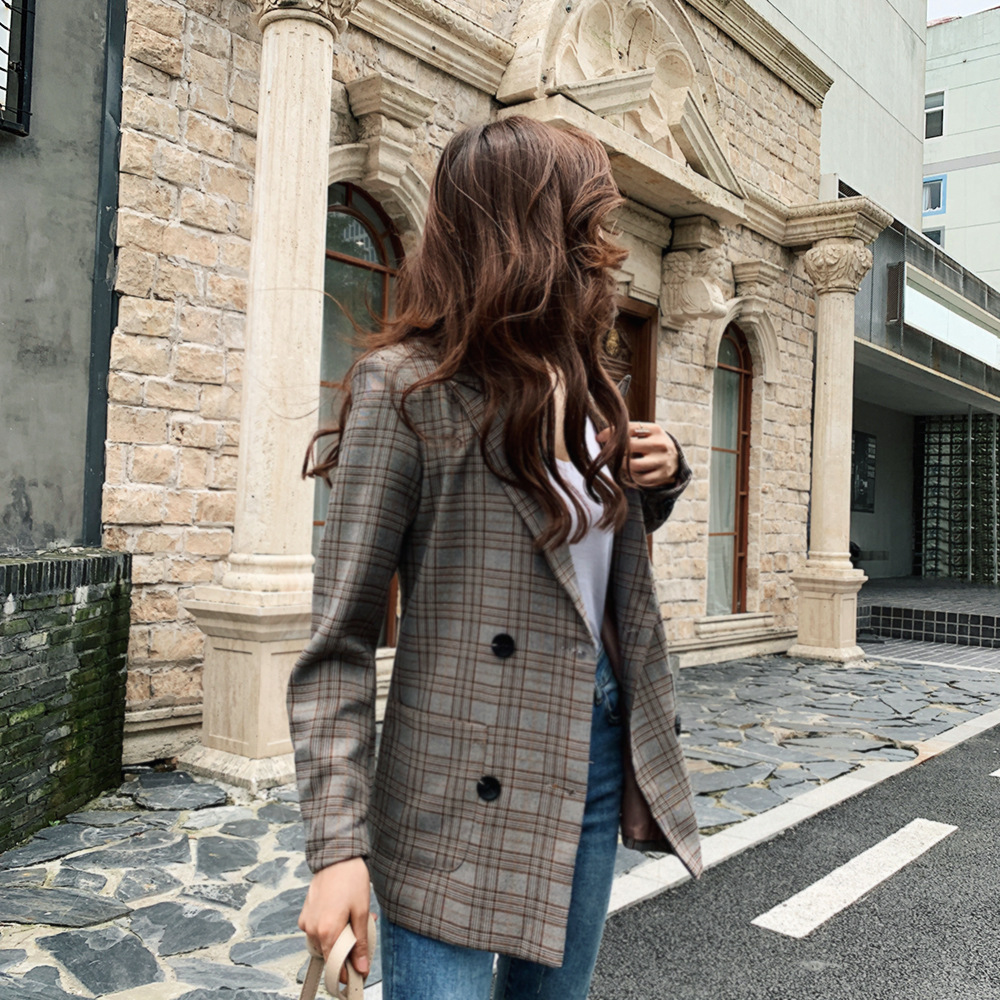 Women's jacket suit Double-breasted vintage casual check ladies blazer 2019 new autumn high quality office suit jacket female