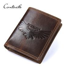 Genuine Leather Men Wallets Small Vintage Bag Coin Pocket Short Wallet With Zipper Multifunctional Money Purse For Card Holder