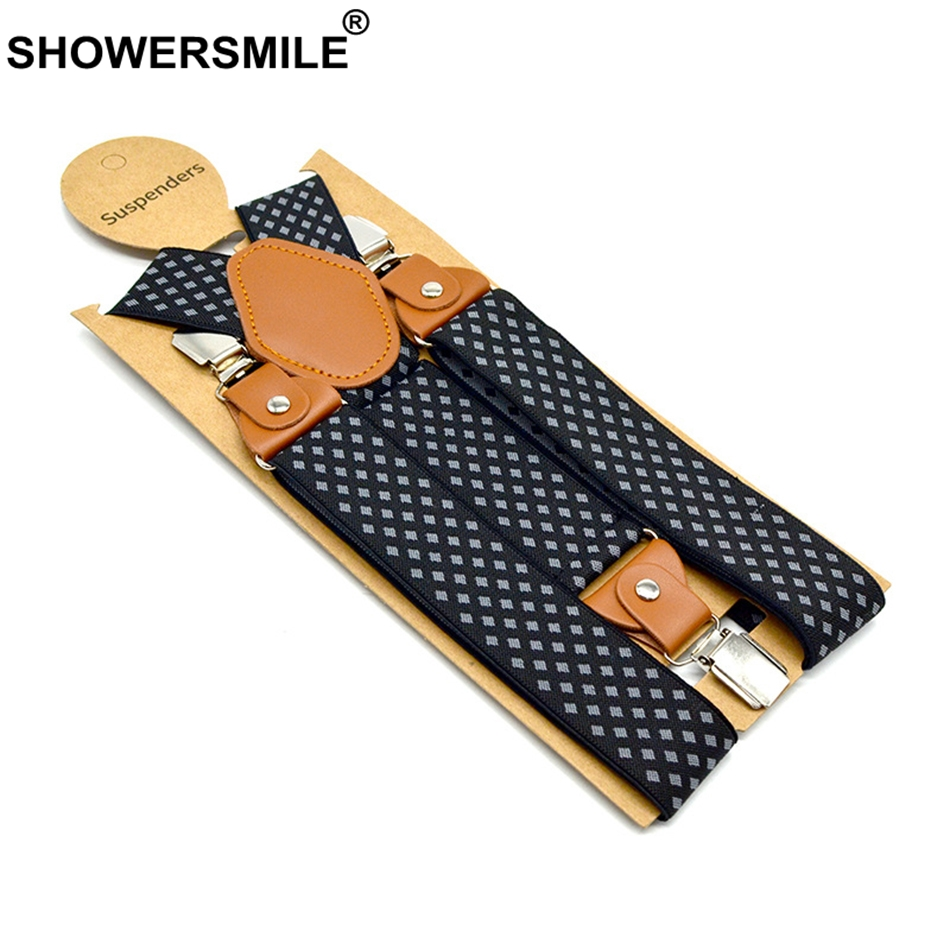SHOWERSMILE Men's Suspenders Formal Trouser Belt Diamond Suspenders Vintage Men Braces Suspender Elastic Clips Pants Strap 120cm
