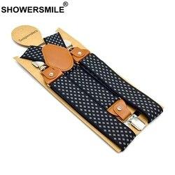 Showersmile Men'S Suspenders Formal Trouser Belt Diamond Suspenders Vintage Men Braces Suspender Elastic Clips Pants Strap 120Cm