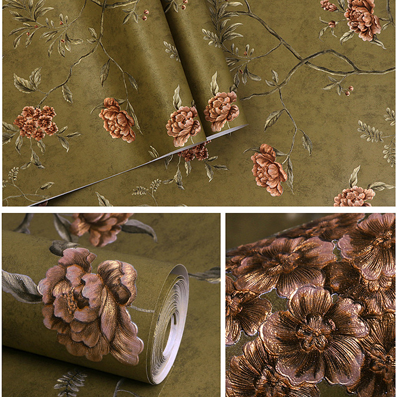 1M Floral Wall Paper Vintage American Style Luxury Non-woven Embossed Wallpaper For DIY Bedroom Living Room Decor