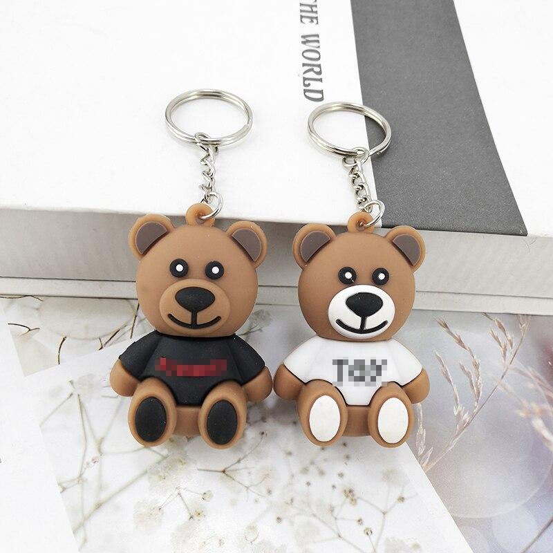New PVC Cartoon Small Brown Bear Key Ring Pendant Meng Bear Accessories Bag Car Key Ornaments