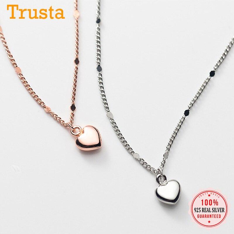 TrustDavis Real 925 Sterling Silver Fashion Romantic Love Heart Pendant Necklace For Women Wedding Party Fine Jewelry DA1829
