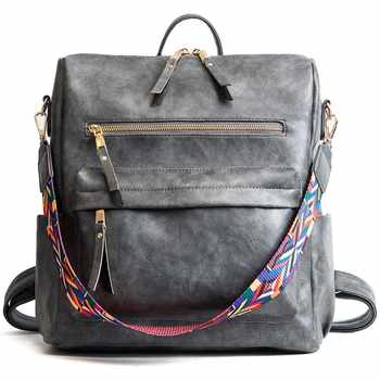 Leather Backpack Women 2019 Students School Bag Large Backpacks Multifunction Travel Bags Mochila Pink Vin0tage Back Pack - DISCOUNT ITEM  50% OFF All Category