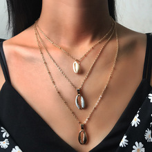 Three Layers Shell Pendant Necklace Natural Gold Silver Cowrie Women Best Friend Cowry Seashell Bohemian Jewelry