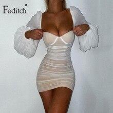 Sexy Dresses Robe Mesh Bodycon Short Vestidos Long-Sleeve Streetwear Party Elegant Feditch