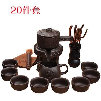 Ceramic Stoneware Tea Set Home Stone Mill Creative Teapot Kung Fu Teacup Semi-automatic Lazy Tea Maker High Quality Drinkware