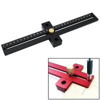 T-280 woodworking Scribe aluminum alloy Cross-line ruler fine-tuning limit scribe hole marking ruler woodworking tool
