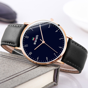 Image 4 - スウィッシュ 2020 男性超薄型腕時計革ステンレス鋼クォーツ時計 30 メートル防水ブラウンレザー腕時計